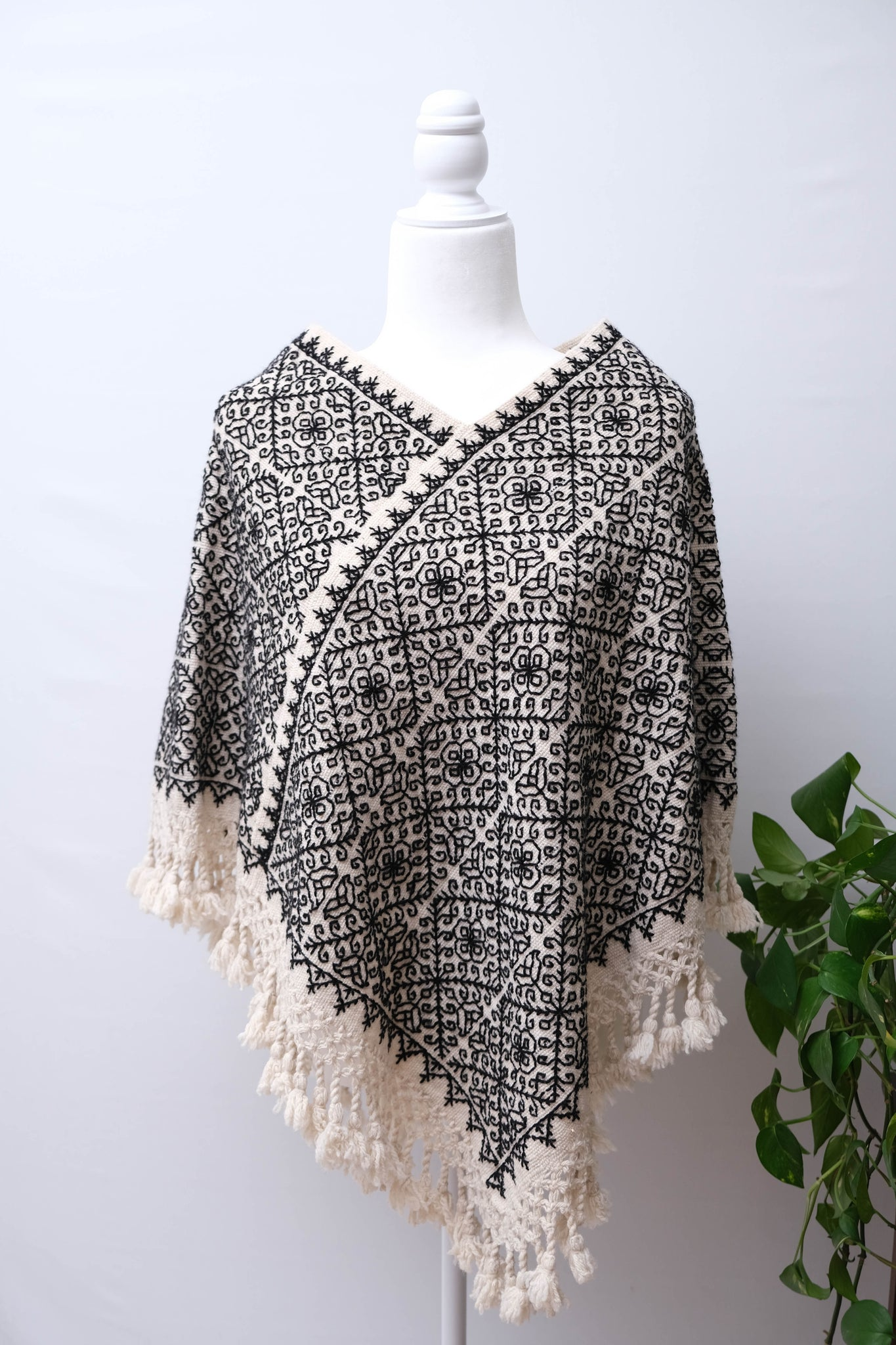 Wool poncho/Cape with Embroidery- One Size
