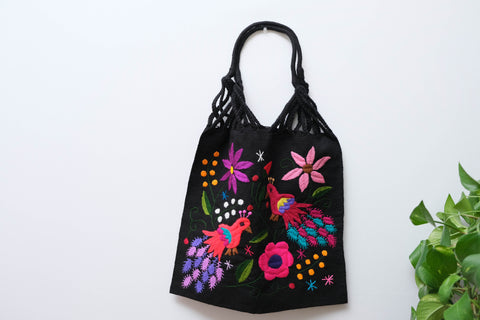 Telar Handbag with Nature Embroidery