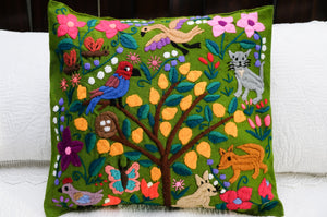 Embroidered Throw Pillow Covers with Nature Designs