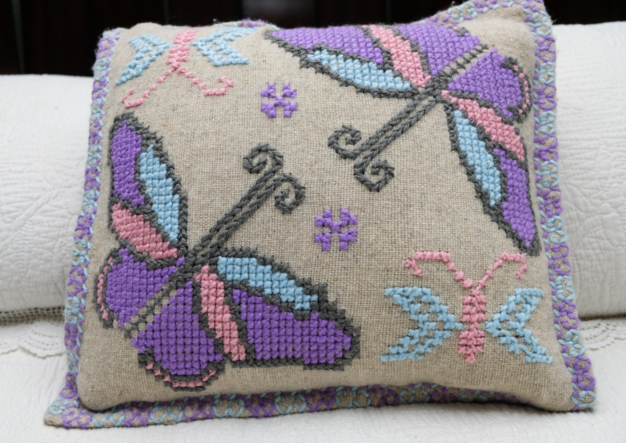 Wool Throw Pillow Covers with Embroidery
