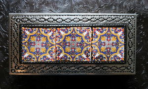 Tin Box with 3 Ceramic Tiles