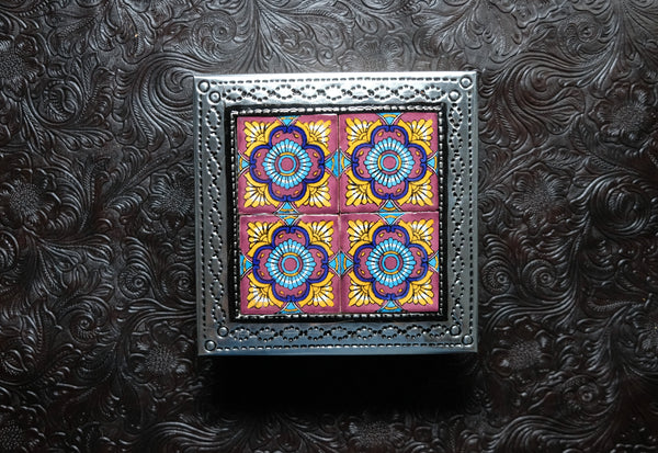 Tin Box with 4 Ceramic Tiles