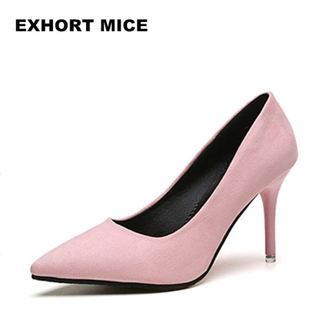2019 HOT Summer Women Shoes Pointed Toe Pumps Suede Leisure Dress Shoes High Heels Boat Wedding tenis feminino 7cm Sexy