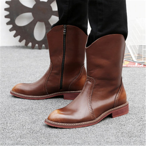 Italian Genuine Leather Men Mid-Calf Boots Brown High Top Cowboy Boots Pointed Toe Motorcycle Shoes Man Plush Keep warm Booties