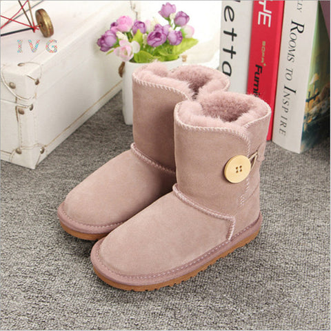 Brand Boys Girls Australia Style Kids Snow Boots Waterproof Button Children Winter Cow Leather Boots Women Warm Shoes EU21-34