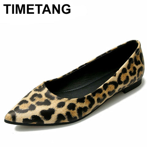 TIMETANGSummer Flat Shoes For Ladies Flats Casual PU Leather Women Flat Shoes Big Size35-43Soft Spring Flats For Teenage Girls