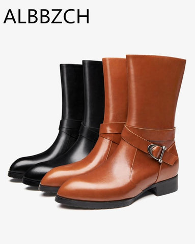 Buiness dress work boots autumn winter warm genuine leather high heel men boots fashion buckle design cowboy knight martin boots