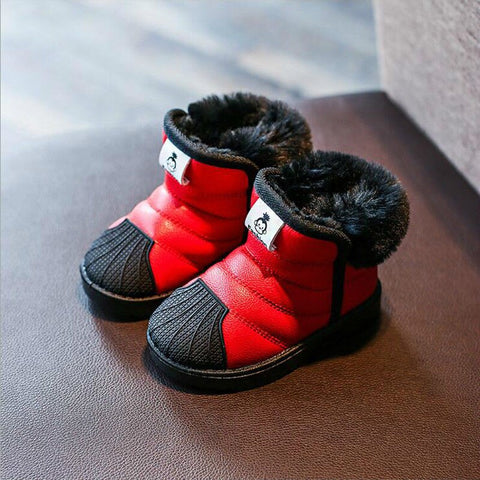 Winter New Style Baby Snow Boots Toddler Shoes Rubber Sole Thick Baby Girls Cotton-padded Shoes Waterproof CHILDREN'S Shoes Warm