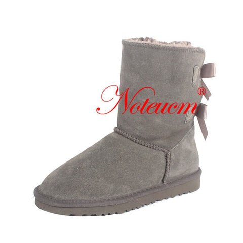 Genuine Leather Female Winter Girl Furry Australia Shoe Ladies Ankle Boot bow back With Lined Faux Fur Plush Snow Boot for Women