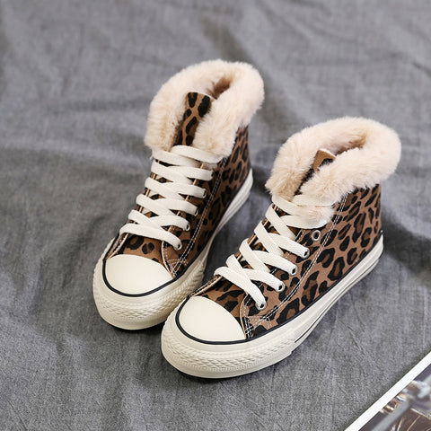 2019 Women Winter Canvas Shoes Fur Lined Leopard Print Girls Casual Sneakers for Winter Warm Plush Inside High Top Sneakers