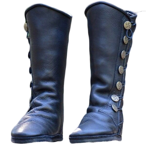 Riding Boots Women Shoe Low Heels Round Toe Girls Knee High Martin Booties Cross Tied Belts Leather Metal Button Decorate Shoes
