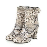 Haoshen&Girl Women Shoes 2019 winter new Snake Print Ankle Boots For Women Western Boots Block high Heel Shoes brown ladies boot