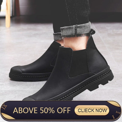 New Arrival Luxury Brand Man Comfortable Shoes Male Genuine Leather Men's Cowboy Western Martin Chelsea Ankle Boots Shoes