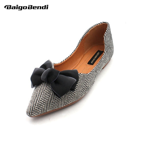 US5-9 Butterfly-knot Woman Flats Pointed Toe Ballet Flat Shoes Girls Bow Casual Shoes Big Size
