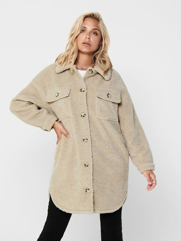 STELLA TEDDY SHIRT JACKET - CEMENT