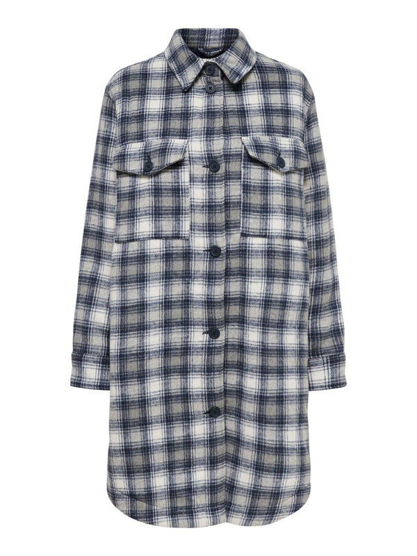 TIK LONG CHECK SHIRT JACKET - SHARKSKIN