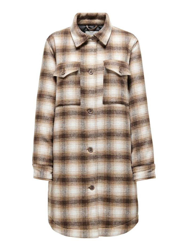 TIK LONG CHECK SHIRT JACKET - TANNIN