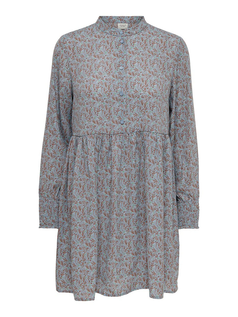 CARMEN L/S SHORT DRESS - BLUE/COPPER BROWN