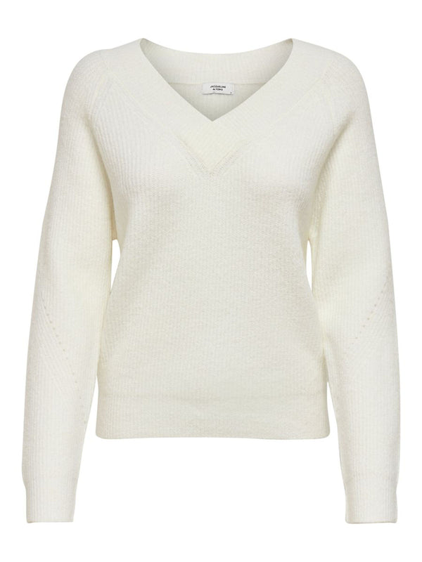 SANDY L/S V-NECK KNIT - CLOUD DANCER
