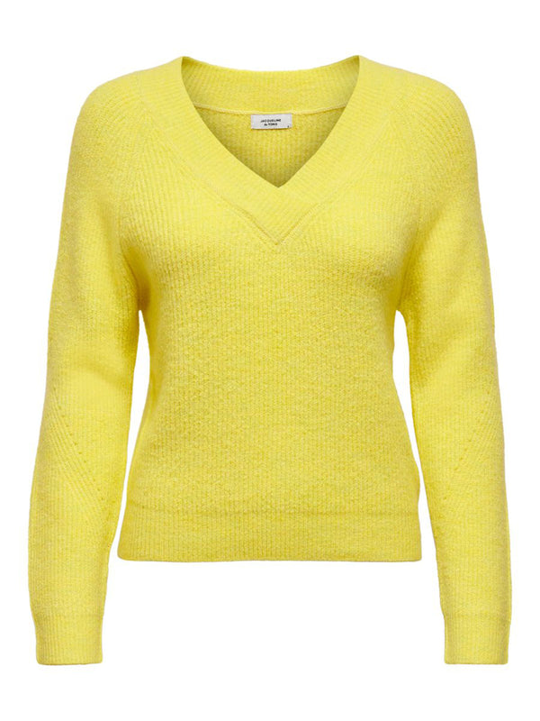 SANDY L/S V-NECK KNIT - YELLOW CREAM