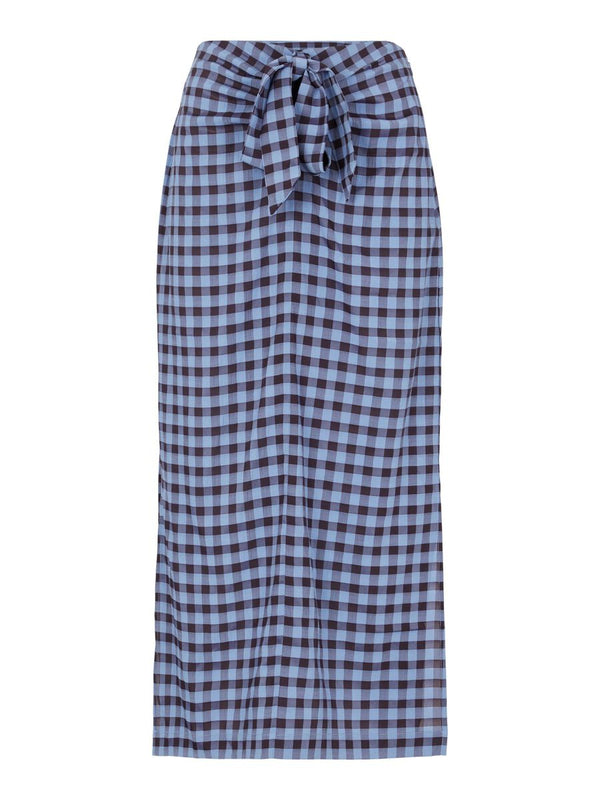 BLUMA KNOT SKIRT - COUNTRY BLUE CHECKS