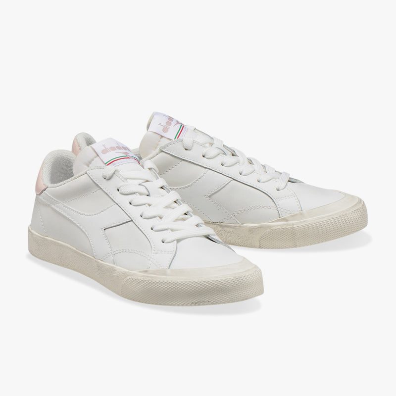 MELODY LEATHER DIRTY  SNEAKER - WHITE / PINK CLOUD