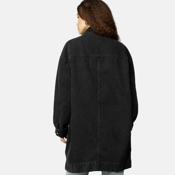 KHALILA DENIM COAT - CHARCOAL BLACK