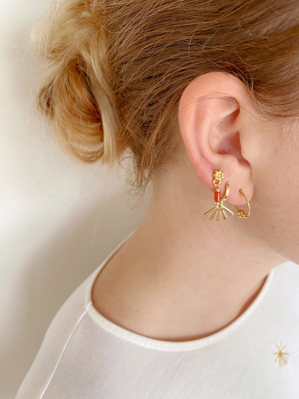 MARGUERITTE EARRINGS - GOLD / CHOCOLAT