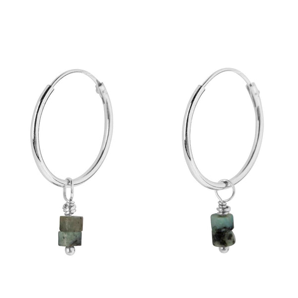 BIGGER LOOP EARING - GREEN JASPIS SILVER
