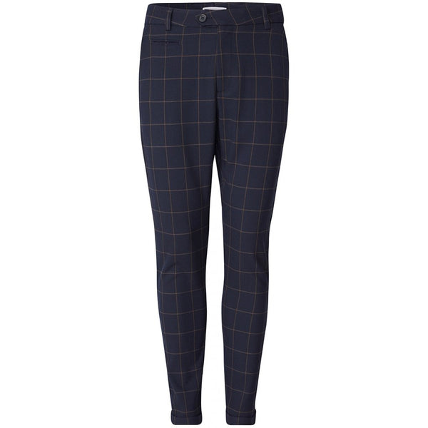 COMO CHECK SUIT PANTS - DARK NAVY/BROWN