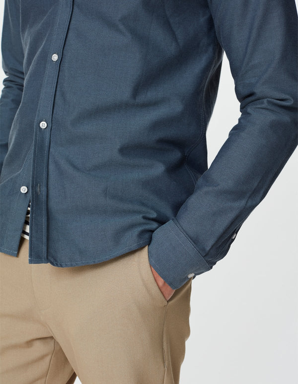 CHRISTOPH OXFORD SHIRT - BLUE FOG/DARK NAVY