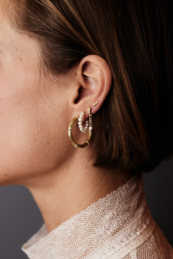 CLASSIC PEARL HOOPS - GOLD
