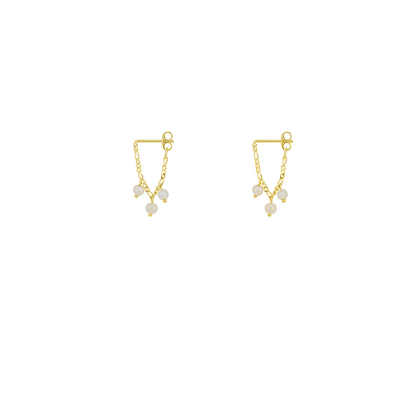 HANGING PEARL CHAIN STUDS - GOLD