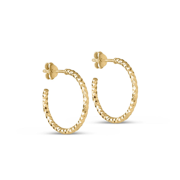 DIAMOND CUT SMALL HOOPS - GOLD
