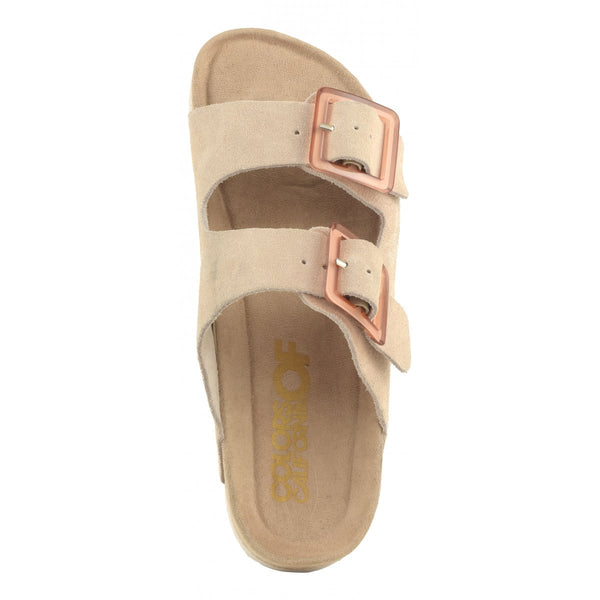 COW SUEDE SLIDES - LIGHT PINK