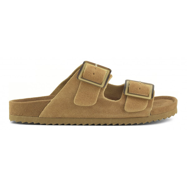 COW SUEDE SLIDES - TAN