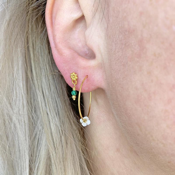 MARGUERITE EARRING GOLD - MALACHITE