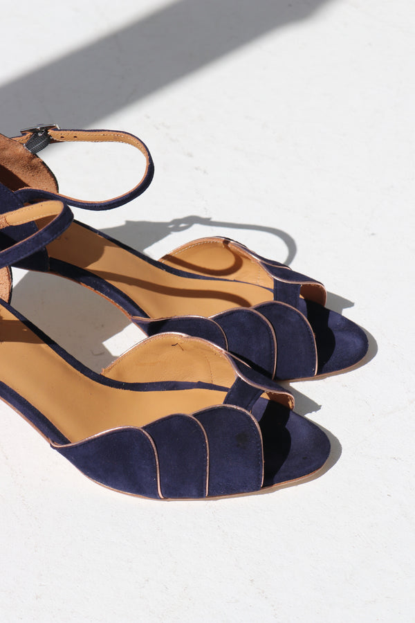 PHOEBE SHOES - SUEDE NAVY & GOLD