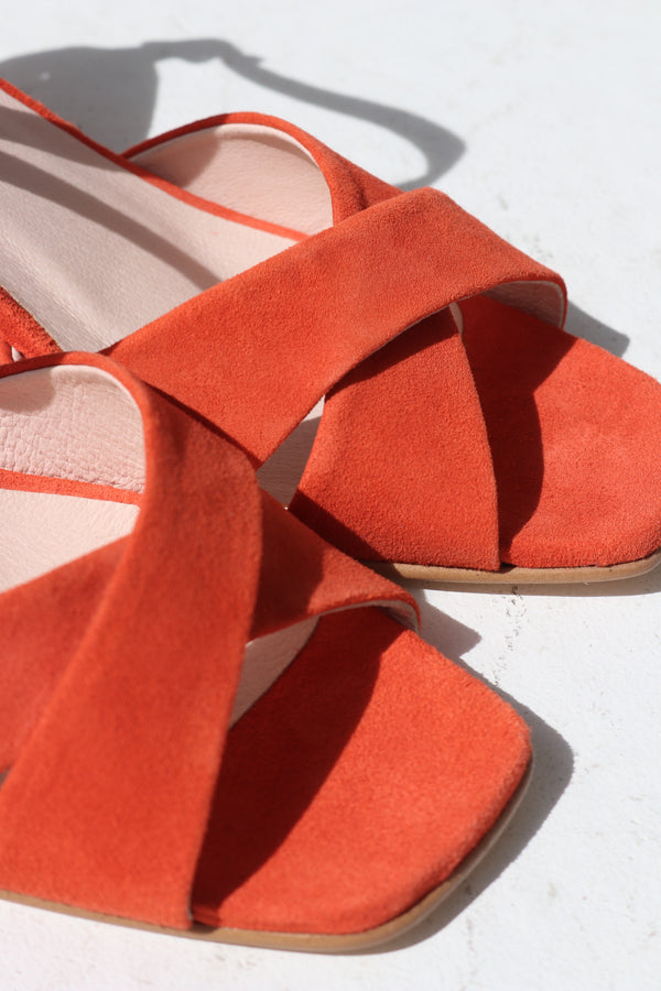 ALICE HEEL - ORANGE SUEDE