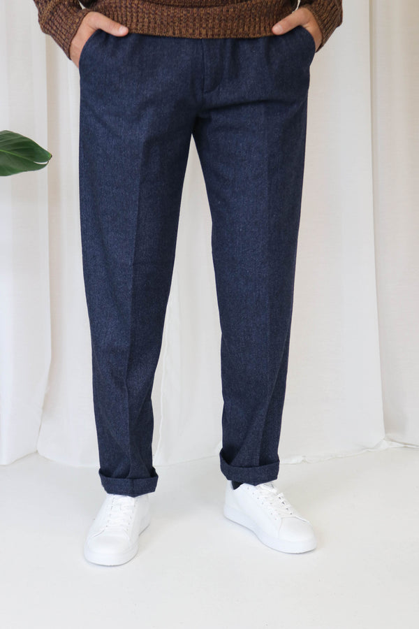 PAVIA WOOL HERRINGBONE SUIT PANTS - DARK NAVY / BLACK