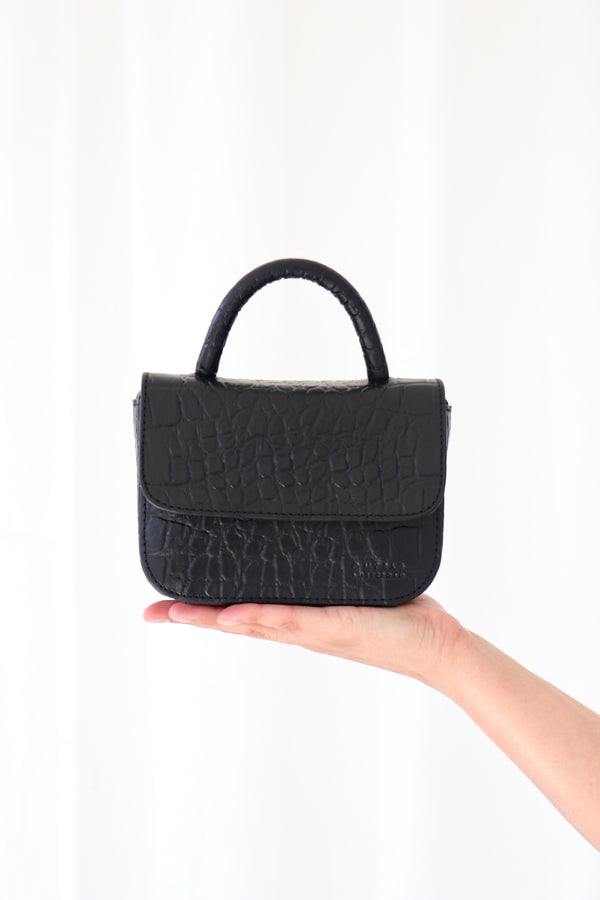 NANO BAG - BLACK CROCO