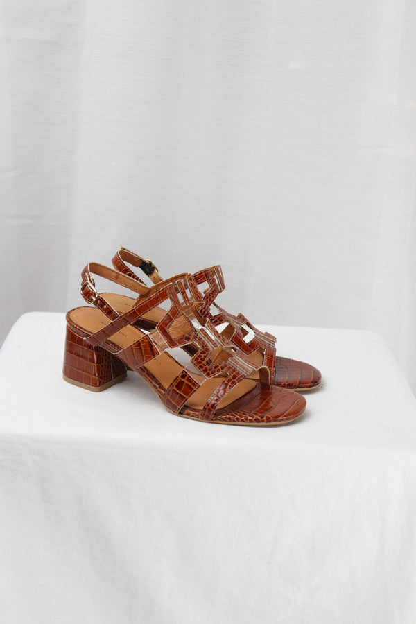 VICCI - CROCO CALF BROWN