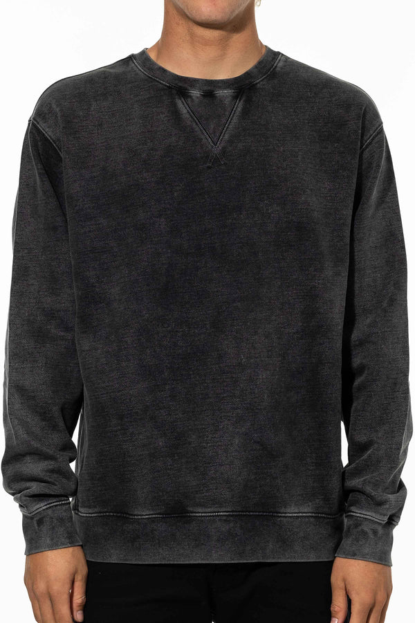EMBROIDERED CREWNECK - BLACK WASH