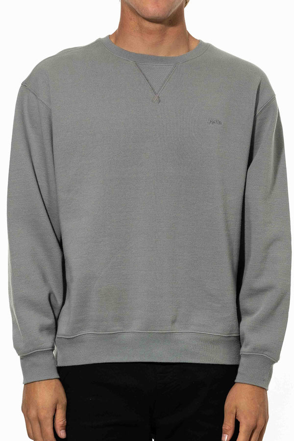 EMBROIDERED CREWNECK - GRAY GREEN
