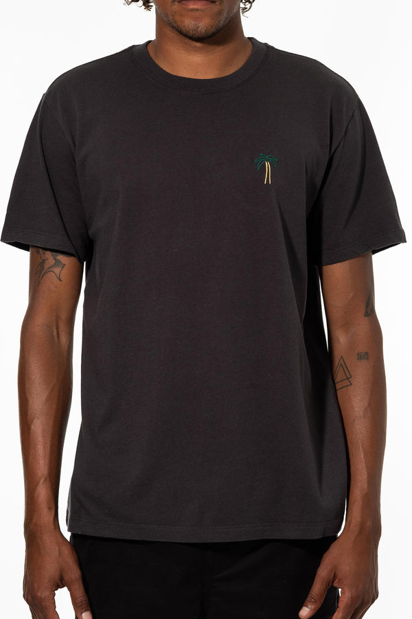 PALM EMBROIDERY TEE - BLACK WASH