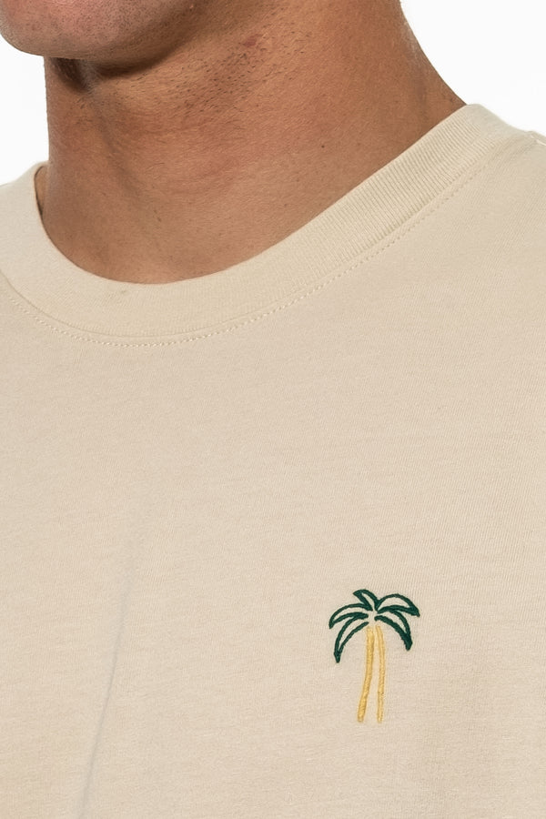 PALM EMBROIDERY TEE - WOOL