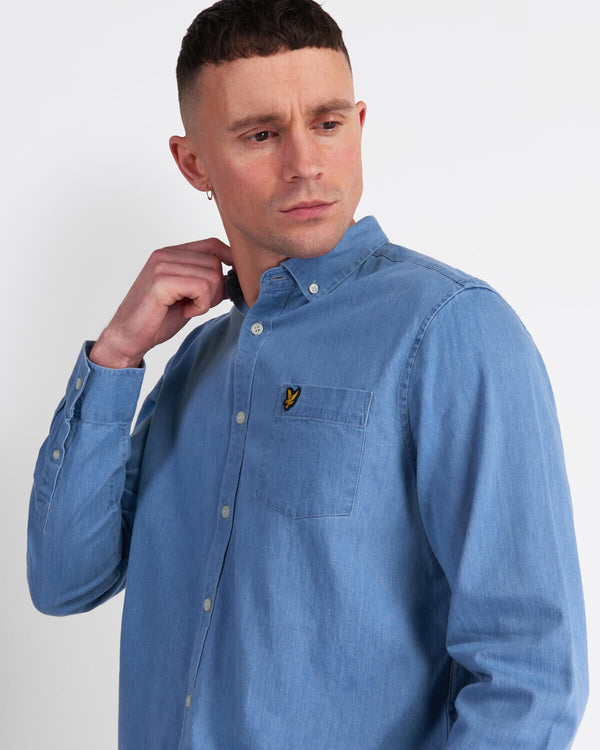 INDIGO LONG SLEEVE SHIRT - BLEACHED INDIGO