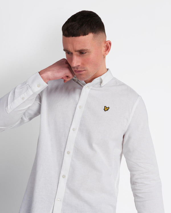 COTTON LINEN SHIRT - WHITE