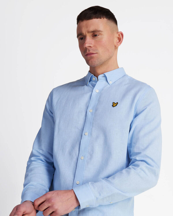 COTTON LINEN SHIRT - POOL BLUE