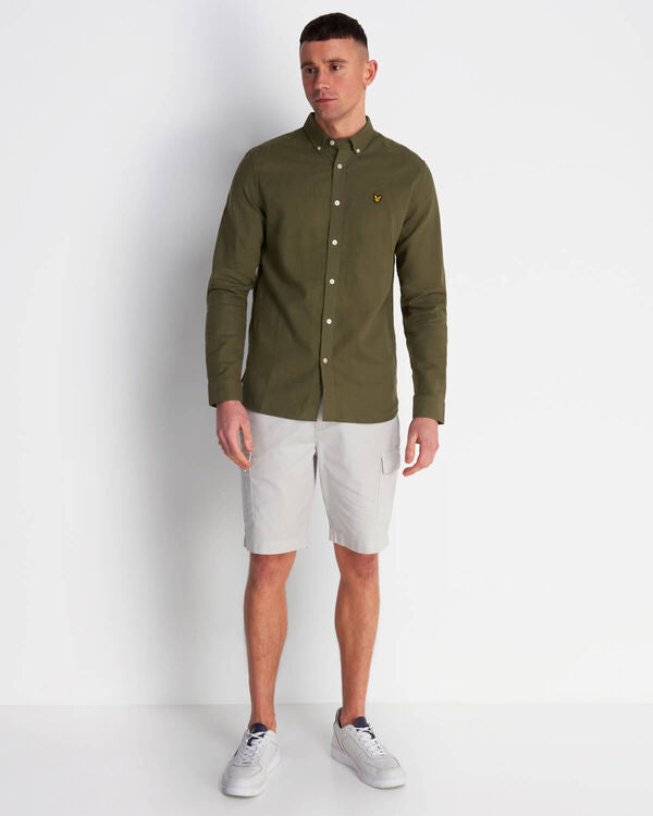 COTTON LINEN SHIRT - LICHEN GREEN